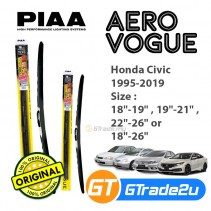 Honda Civic 1995-2019 Piaa Aero Vogue Silicone Windshield Wiper Blade *Free Gift