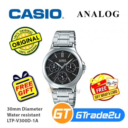 Casio Women Ladies LTP-V300D Analog Steel Watch Casual Day Date 24hrs Display