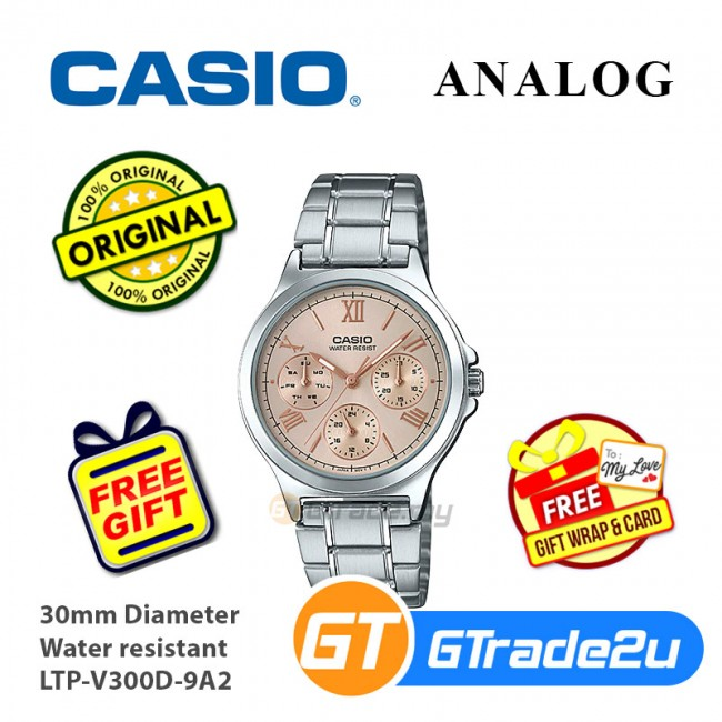 Casio Women Ladies LTP-V300D Analog Steel Watch [READY-STOCK] Casual Day Date 24hrs Display