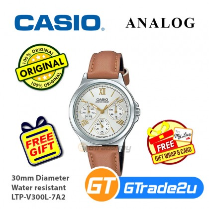 Casio Women Ladies LTP-V300L Analog Leather Watch Casual Day Date 24hrs Display