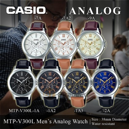 Casio Men MTP-V300L Analog Leather Watch Casual Day Date 24hrs Display