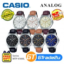 Casio Men MTP-V300L Analog Leather Watch [READY-STOCK] Casual Day Date 24hrs Display