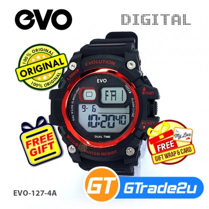 EVO-127 Men Digital Casual Watch PU Band Big Case 50m Water Resist [PRE]