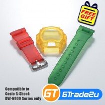Custom Band & Bezel Matte Red Yellow Green for Casio G-Shock DW-6900 Series