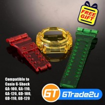 Custom Band & Bezel Jelly Red Yellow Green for Casio G-Shock GA-GD-100-110-120