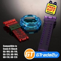 Custom Band & Bezel Jelly Red Blue Violet for Casio G-Shock GA-GD-100-110-120