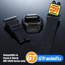 Custom Band & Bezel Jelly Black for Casio G-Shock DW-5600 Series