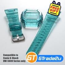 Custom Band & Bezel Jelly Blue Green for Casio G-Shock DW-5600 Series