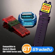 Custom Band & Bezel Jelly Red Blue Violet for Casio G-Shock DW-5600 Series
