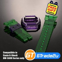 Custom Band & Bezel Jelly Green Violet for Casio G-Shock DW-5600 Series