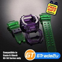 Custom Band & Bezel Jelly Green Violet for Casio G-Shock GX-56 Series