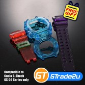 Custom Band & Bezel Jelly Red Blue Violet for Casio G-Shock GX-56 Series