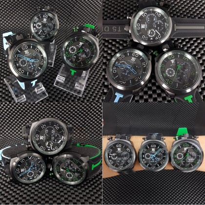 T5 Men Chronograph Watch H3619 Silicone Band Sports Stopwatch Look Black Green*Free Gift