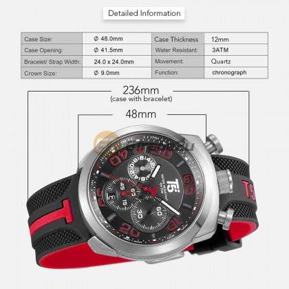 T5 Men Chronograph Watch H3619 Silicone Band Sports Stopwatch Look Black Red*Free Gift
