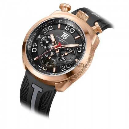 T5 Men Chronograph Watch H3619 Silicone Band Sports Stopwatch Look Rose Gold Black*Free Gift