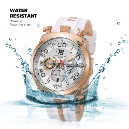 T5 Men Chronograph Watch H3619 Silicone Band Sports Stopwatch Look Rose Gold White*Free Gift