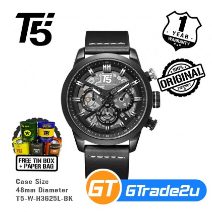 T5 Mens Chronograph Watch H3625 Genuine Leather Band Military Sport Black *Free Gift