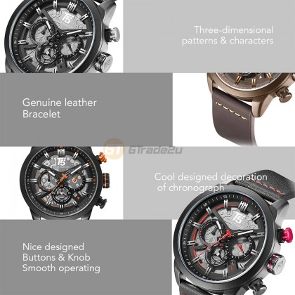 T5 Mens Chronograph Watch H3625 Genuine Leather Band Military Sport Black Orange*Free Gift