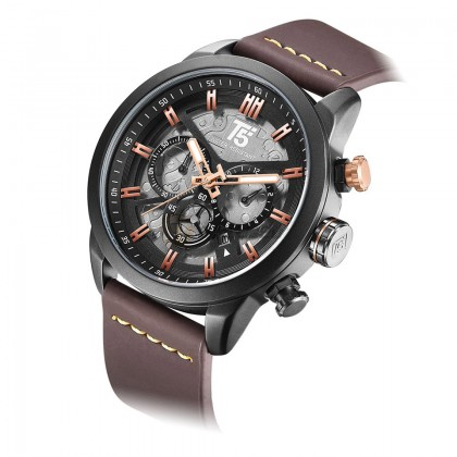 T5 Mens Chronograph Watch H3625 Genuine Leather Band Military Sport Black Rose Gold*Free Gift