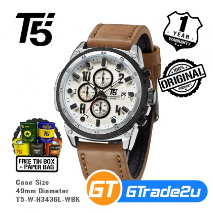 T5 Mens Chronograph Watch H3436 Genuine Leather Band Military Sport White Black*Free Gift