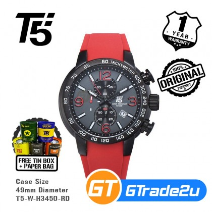 T5 Mens Chronograph Watch H3450 Silicone Band Military Sport Red*Free Gift