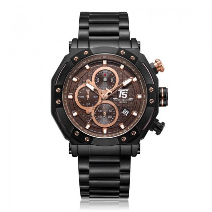 T5 Mens Chronograph Watch H3631 Black Case Sport Brown Rosegold*Free Gift