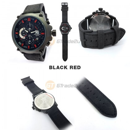 T5 Mens Chronograph Watch H3479 Genuine Leather Band Sport Black Red*Free Gift