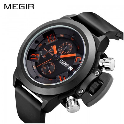 MEGIR Men Chronograph Male Watch MN2002G-BK-1 30M Water Resistant Silicone Band