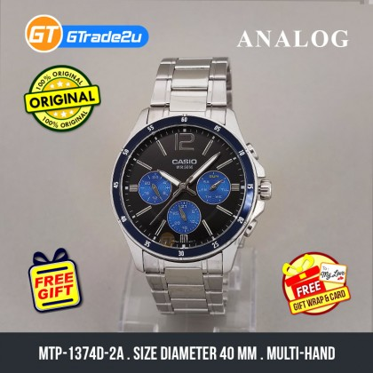 [READY STOCK] CASIO STANDARD MTP-1374D-2AV Analog Mens Watch   Date Day Display