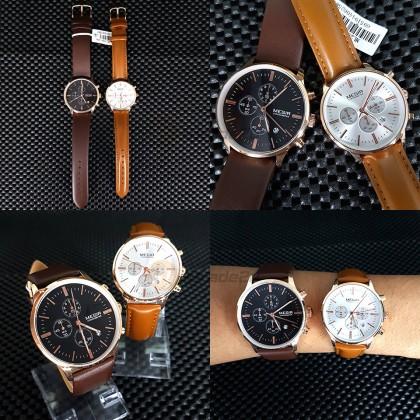 MEGIR Men Chronograph Male Watch ML2011GBN-1N0 30M Water Resistant Leather Band