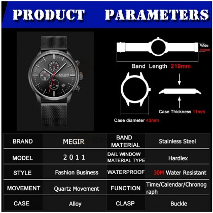 MEGIR Men Chronograph Male Watch MS2011G-BK-1 30M Water Resistant Stainless Strap
