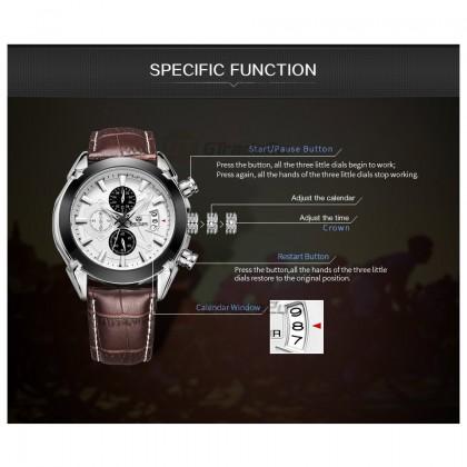 MEGIR Men Chronograph Male Watch ML2020GBN-7 White 30M Water Resistant Leather Strap