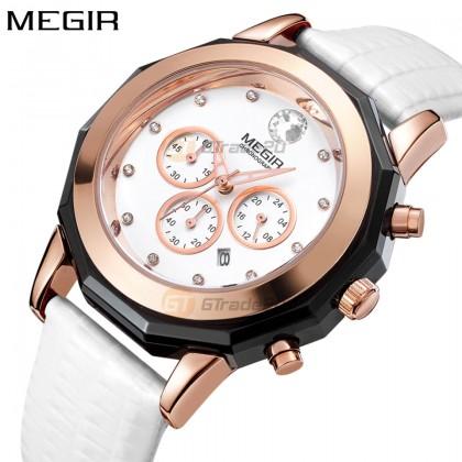 MEGIR Women Ladies Chronograph Female Watch ML2042LREWE-7N0 White 30M Water Resistant Leather Band