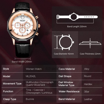 MEGIR Women Ladies Chronograph Female Watch ML2042LRERD-0N0 Red 30M Water Resistant Leather Band