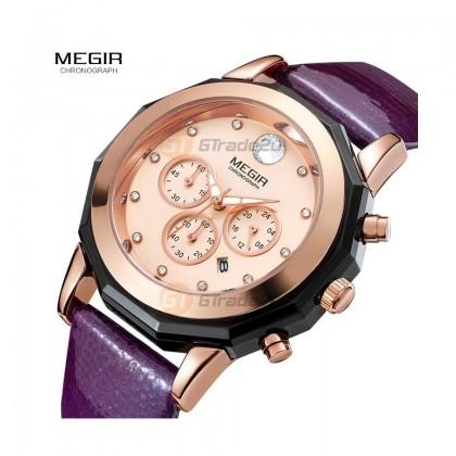 MEGIR Women Ladies Chronograph Female Watch ML2042LREPU-0N0 Purple 30M Water Resistant Leather Band