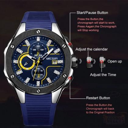 MEGIR Men Chronograph Male Watch MN2053GBE-2N13 Blue 30M Water Resistant Silicone Strap
