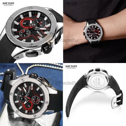 MEGIR Men Chronograph Male Watch MN2053GBK-1N8 Silver Black 30M Water Resistant Silicone Strap