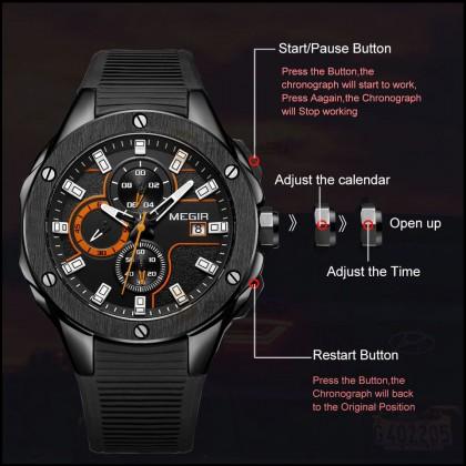 MEGIR Men Chronograph Male Watch MN2053G-BK-1N11 Black Orange 30M Water Resistant Silicone Strap