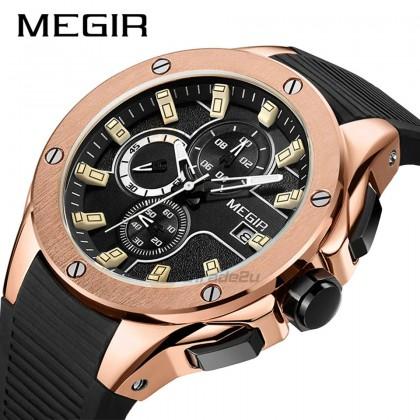MEGIR Men Chronograph Male Watch N2053GREBK-1N0 Rose Gold 30M Water Resistant Silicone Strap
