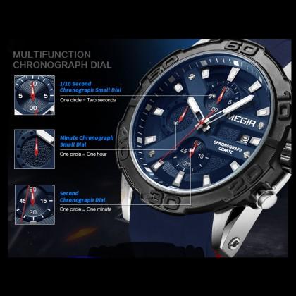MEGIR Men Chronograph Male Watch MN2055GS-BK-1 Black 30M Water Resistant Silicone Strap