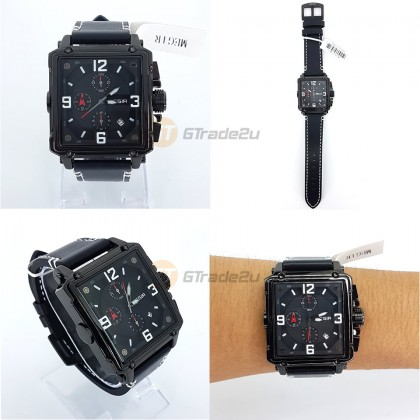 MEGIR Men Chronograph Male Watch ML2061G-BK-1 Black 30M Water Resistant Genuine Leather Strap