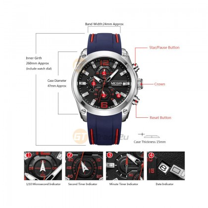 MEGIR Men Chronograph Male Watch MN2063GBE-1 Blue 30M Water Resistant Silicone Strap