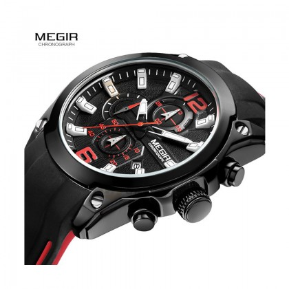 MEGIR Men Chronograph Male Watch MN2063G-BK-1 Black Case 30M Water Resistant Silicone Strap