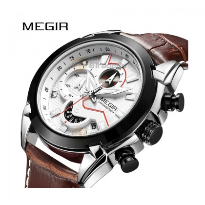 MEGIR Men Chronograph Male Watch ML2065GS-BKBN-7 White 30M Water Resistant Silicone Strap