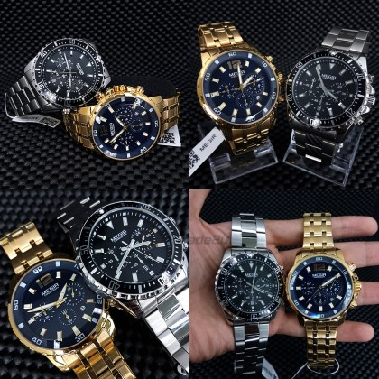 MEGIR Men Chronograph Male Watch MS2068GGD-2N3 Gold Blue 30M Water Resistant Stainless Steel Strap