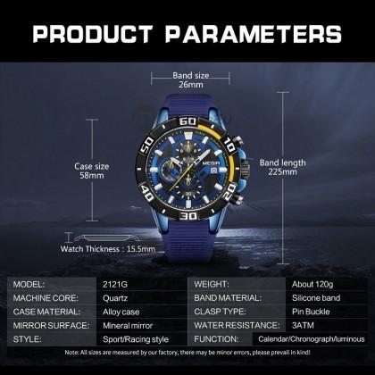 MEGIR Men Chronograph Male Watch MN2121GBE-BKBE-1N2 Blue 30M Water Resistant Silicone Strap