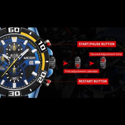 MEGIR Men Chronograph Male Watch MN2121GS-BK-1 Black 30M Water Resistant Silicone Strap