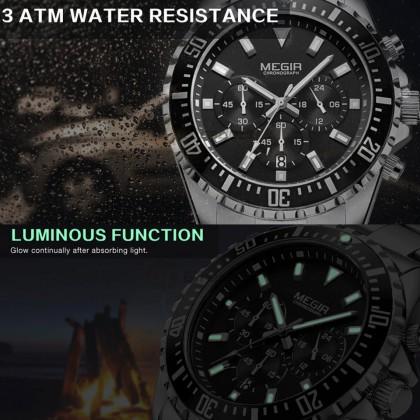 MEGIR Men Chronograph Male Watch MS2064G-1 Black 30M Water Resistant Stainless Steel Strap