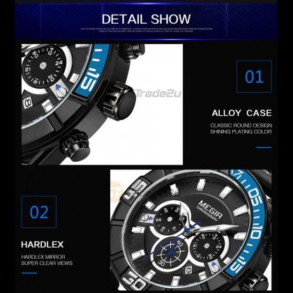 MEGIR Men Chronograph Male Watch ML2066G-BK-1 Blue Case 30M Water Resistant Stainless Genuine Leather Strap