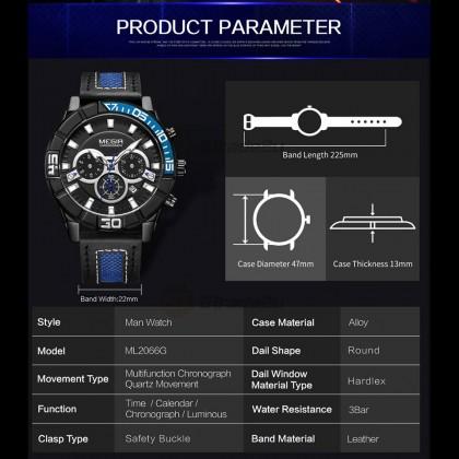 MEGIR Men Chronograph Male Watch ML2066GGD-BK-1N3 Gold 30M Water Resistant Stainless Genuine Leather Strap